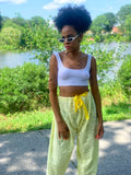 Vintage 90s Yellow Boho Lace Harem Pants