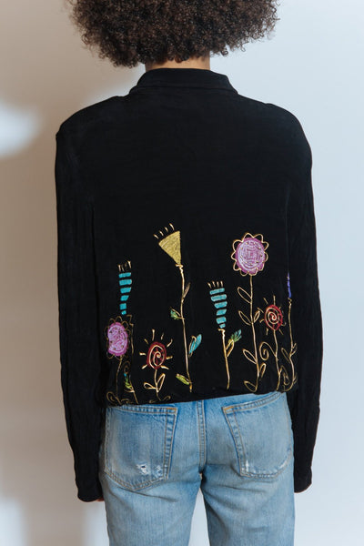 Vintage 90s Black Art Deco Printed Zipper Jacket