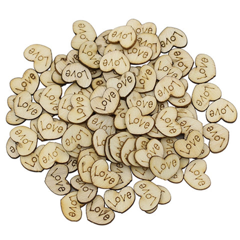 "Image of Wooden ""Love"" Hearts 100 pc"
