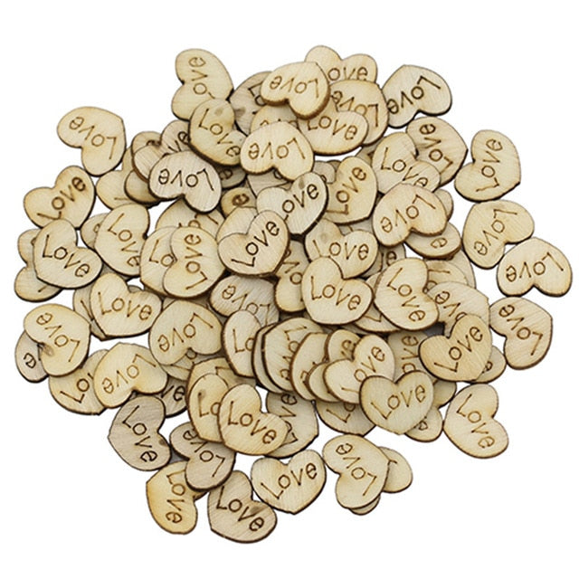"Wooden ""Love"" Hearts 100 pc"