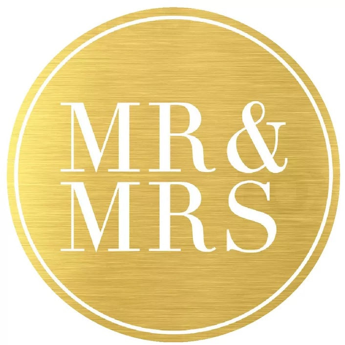 Mr & Mrs Metallic Gold Seals