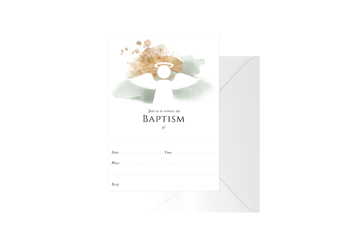 Gold Spray Watercolour Angel Fill In Baptism