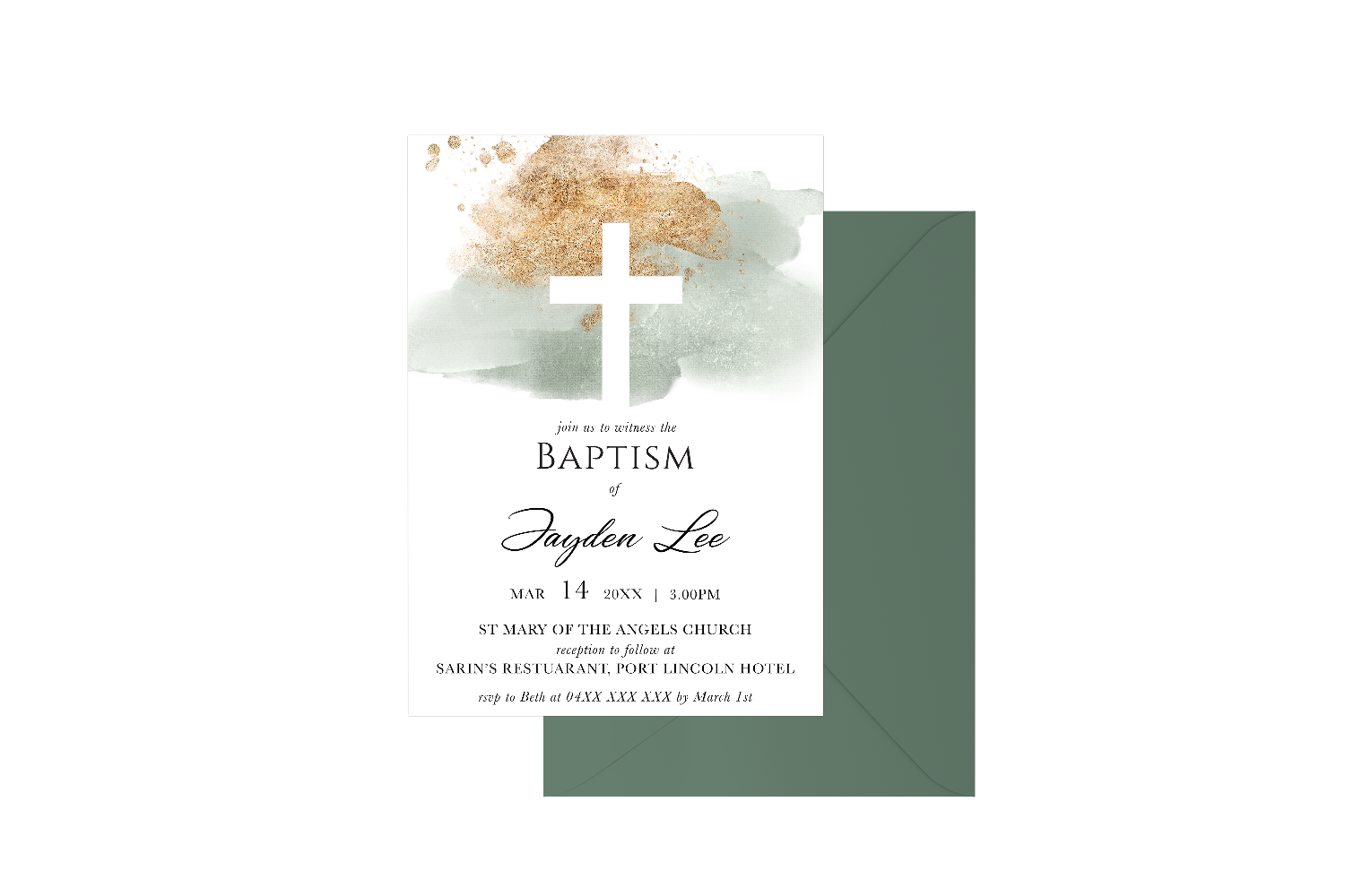 Gold Spray Watercolour Cross Customised Baptism Boy