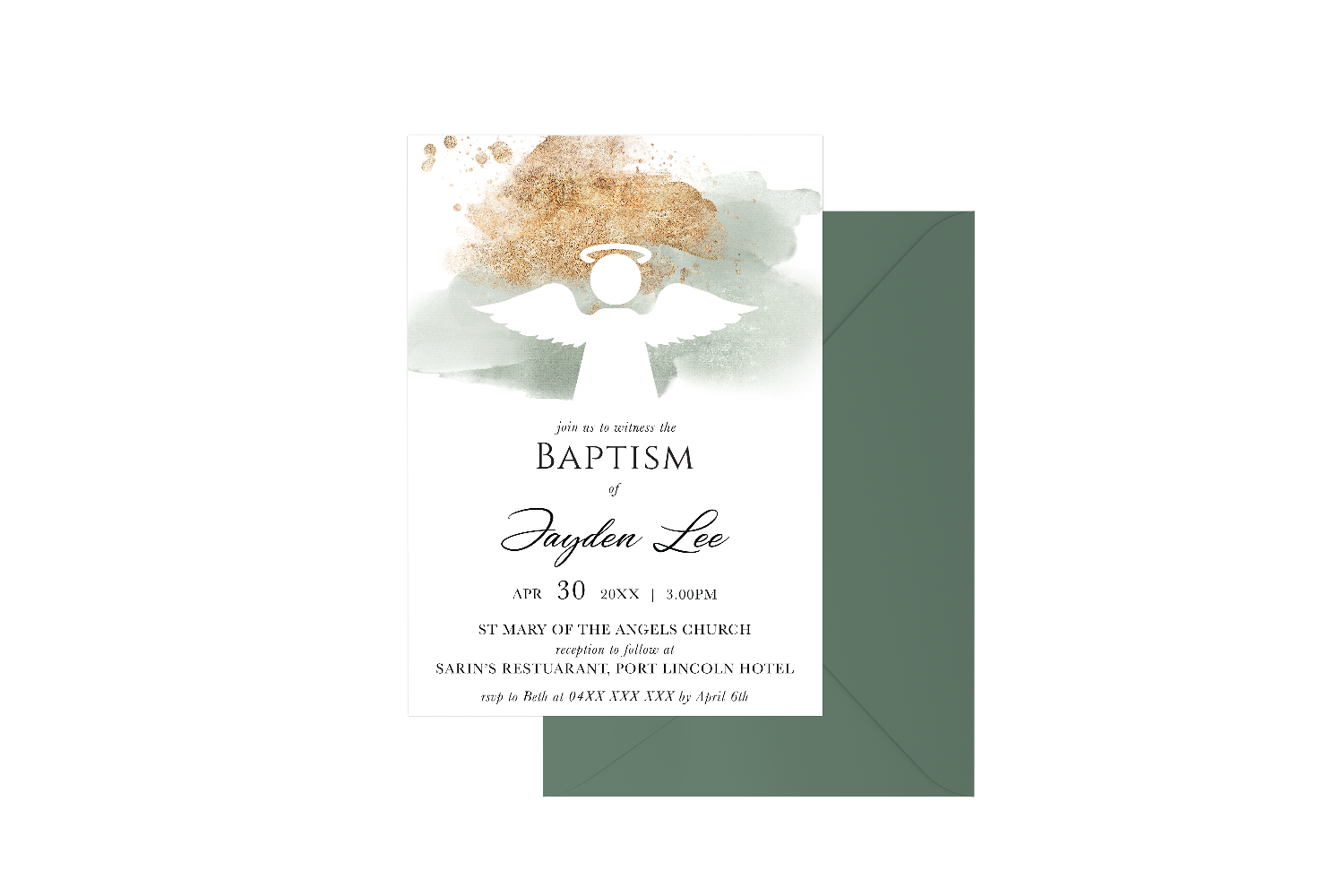 Gold Spray Watercolour Angel Customised Baptism Boy
