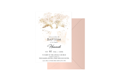 Gold Spray Watercolour Angel Customised Baptism Girl