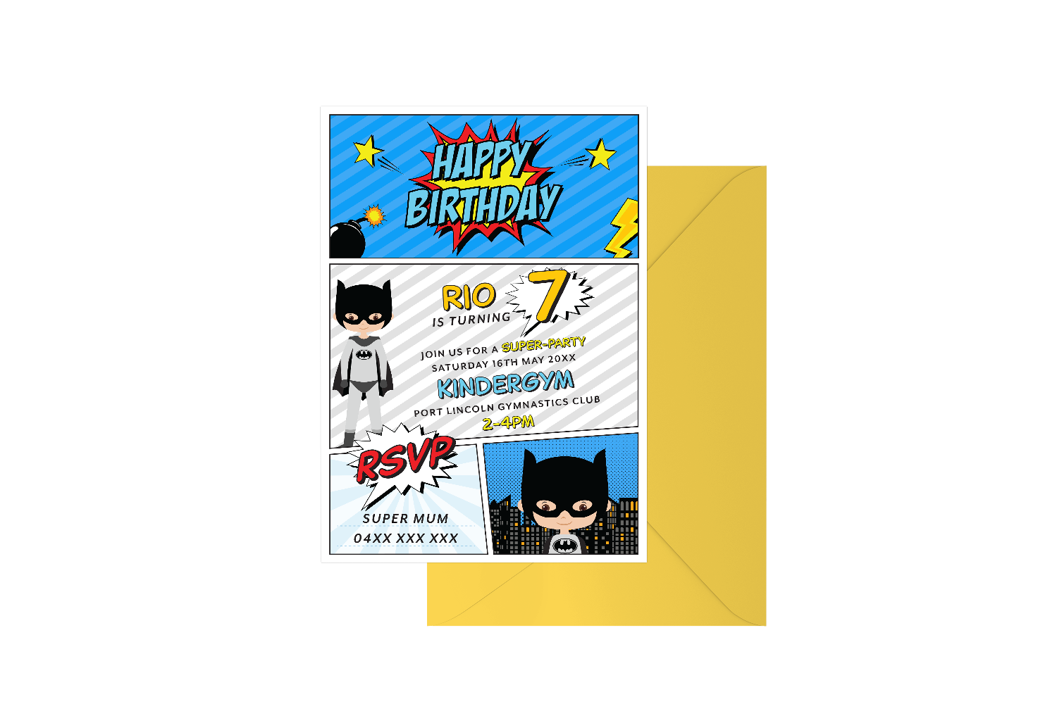 Bat Boy Customised Birthday