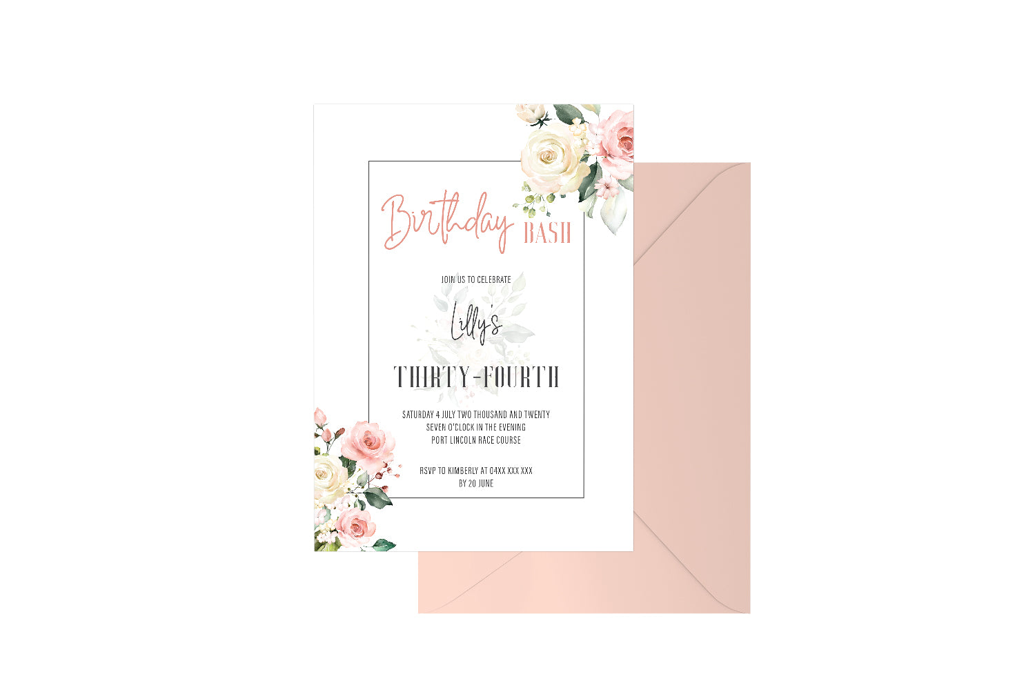 Birthday Bash Geo Floral Customised Invitation