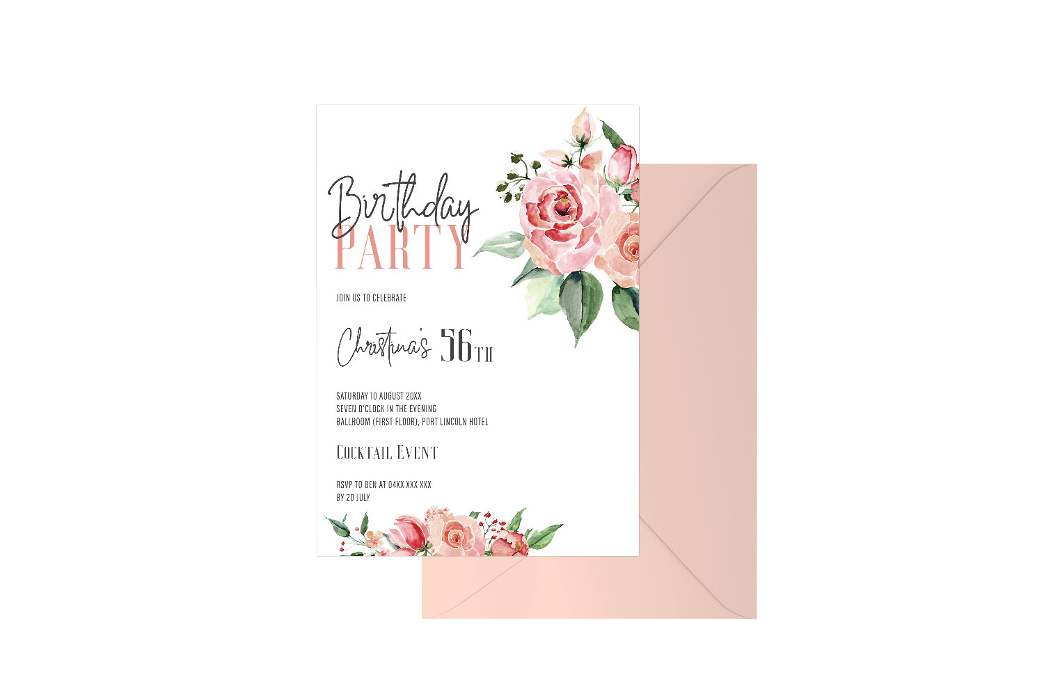 Birthday Party Floral Customised Invitation