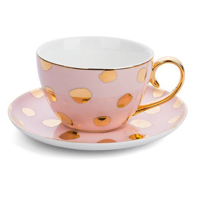 Luxury Polka D'Or Blush Teacup & Saucer
