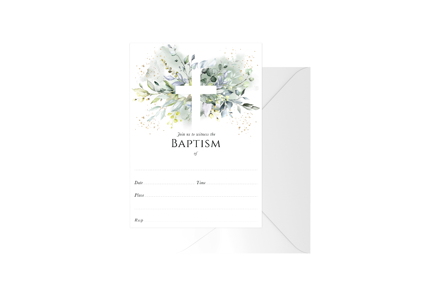 Botanical Cross Fill In Baptism
