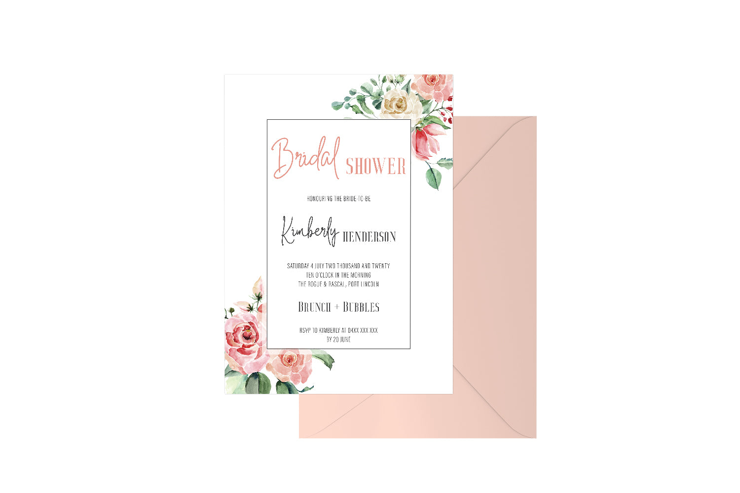 Bridal Shower Geo Floral Customised Invitation