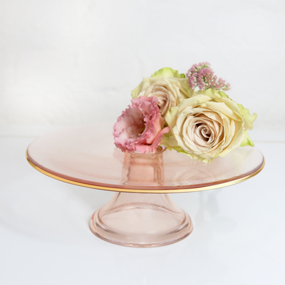 Cake Stand Rose Glass Single Tier