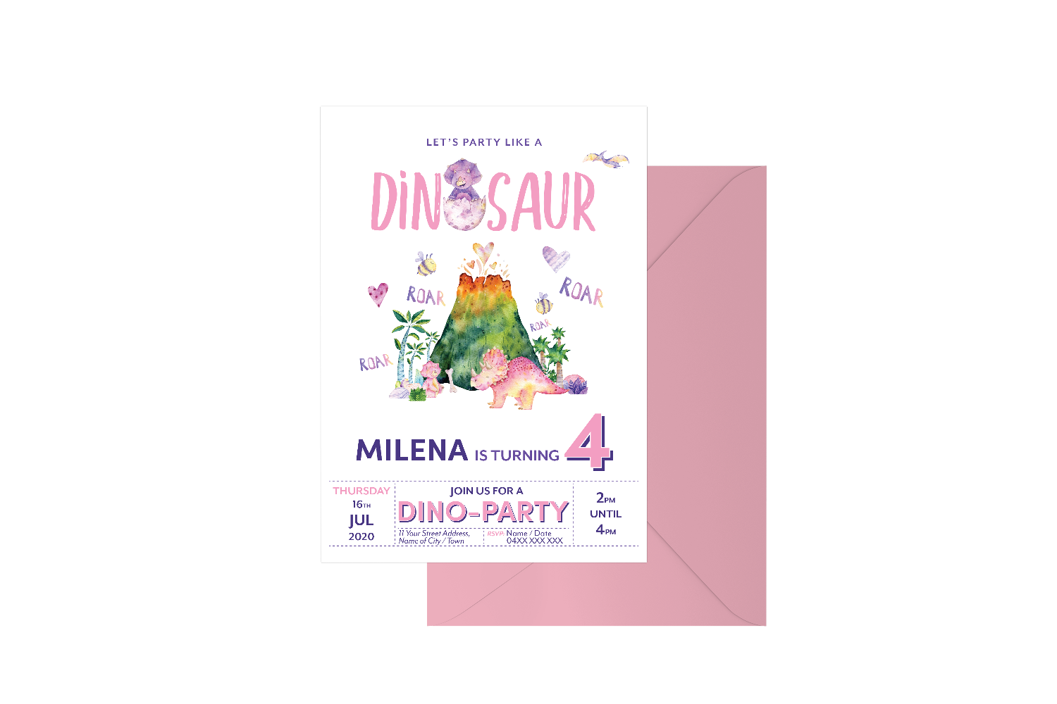 Party Like A Dinosaur Customised Birthday Girl
