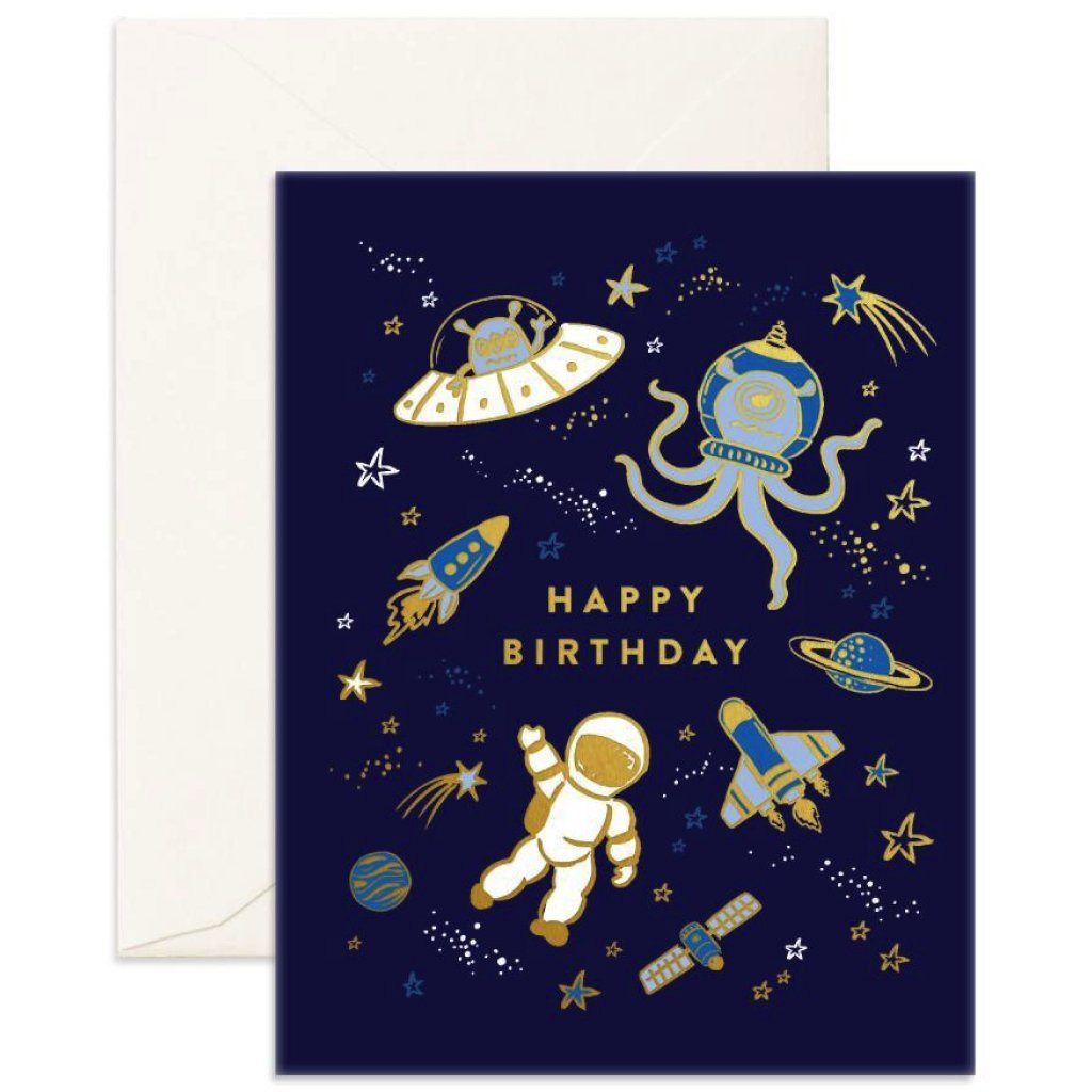 Space Happy Birthday Card