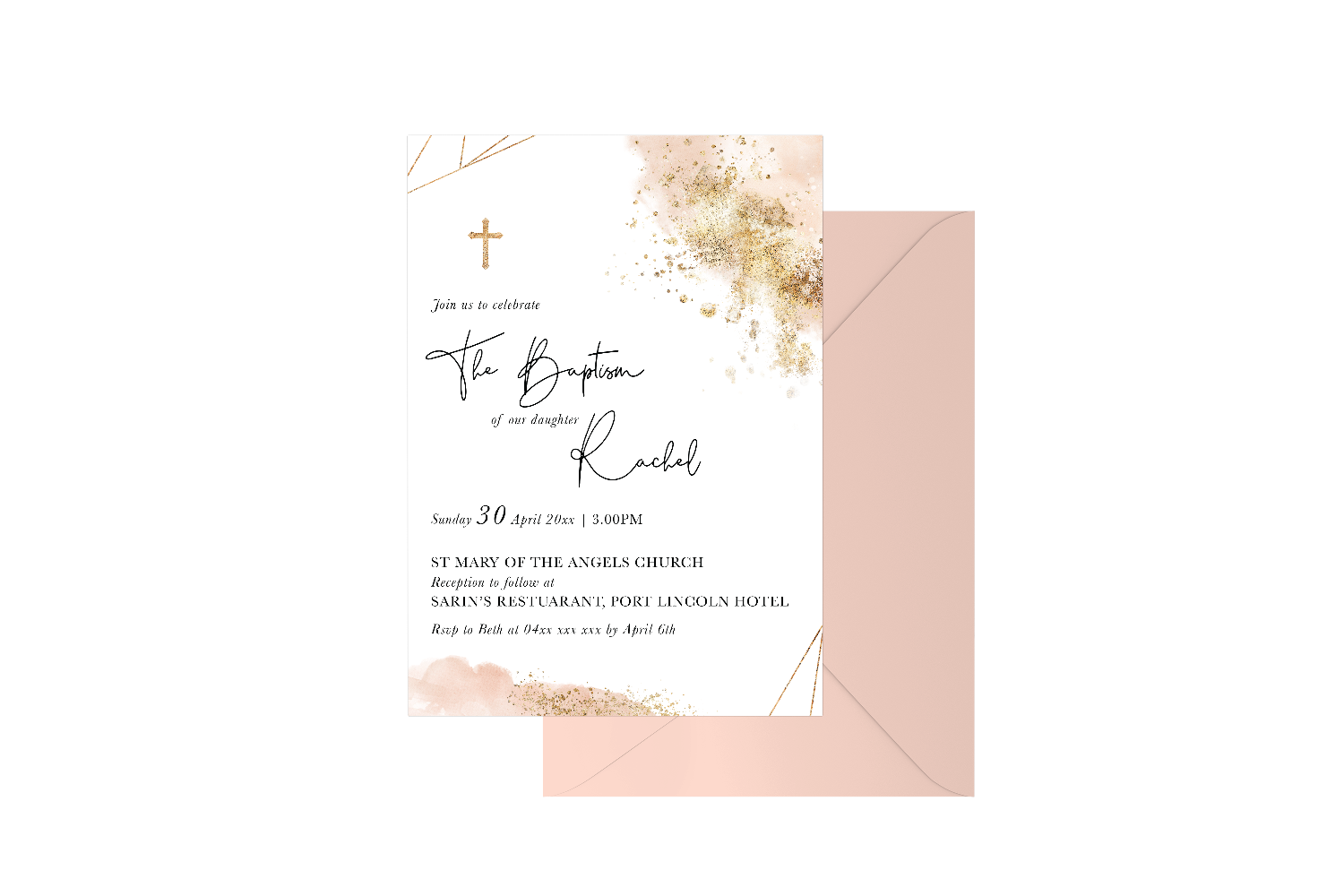 Geometric Gold Spray Watercolour Customised Baptism Girl