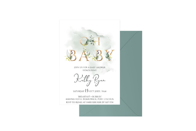 Oh Baby Watercolour Customised Baby Shower