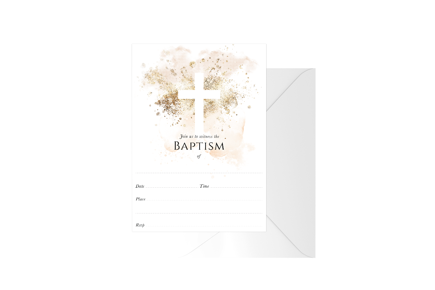 Gold Spray Watercolour Cross Fill In Baptism