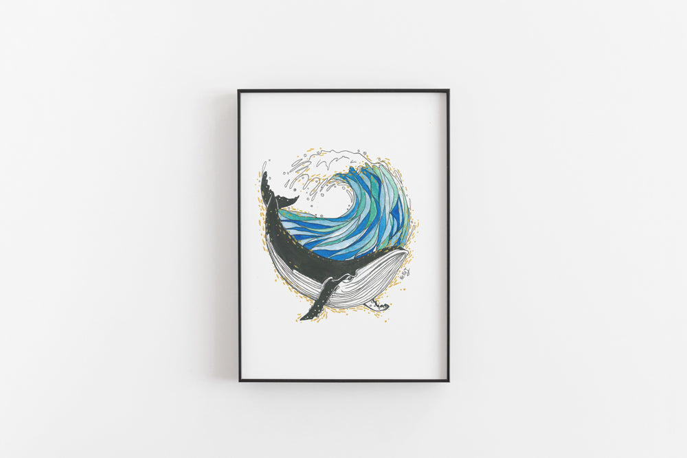 Whale Wave Print
