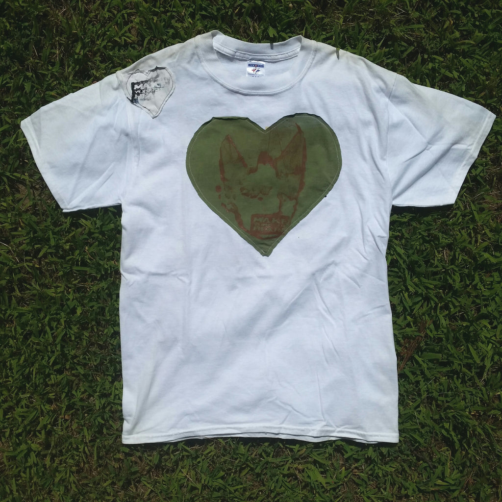 One of a Kind (Men's M) 2 Heart Face Patches T-Shirt