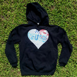 One of a Kind (Men's M) Heart REUSE! Face Patch Pullover Hoodie