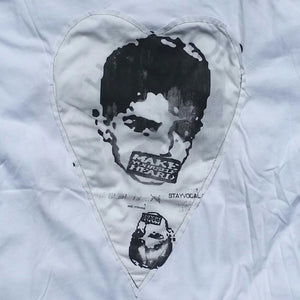 One of a Kind (Men's L) Heart Patch Faces T-Shirt