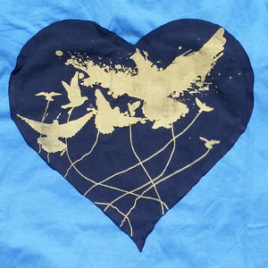 One of a Kind (Women's M) Heart Patch Birds T-Shirt