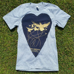 One of a Kind (Men's S) Heart Patch Birds T-Shirt