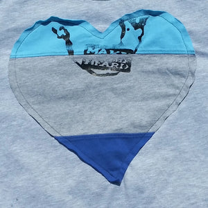One of a Kind (Men's M) Heart Patch Tri Color Face T-Shirt