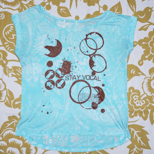 One of a Kind (Women's S) Coffee and Aqua Flowers T-Shirt
