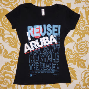 One of a Kind (Women's M) I Love Aruba & REUSE! T-Shirt