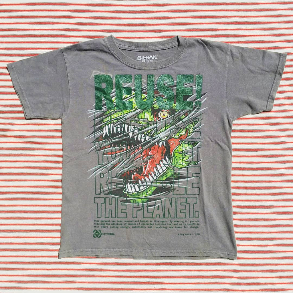 One of a Kind (Kids M/L) REUSE! Dino Attack T-Shirt