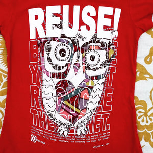 One of a Kind (Girl's S) REUSE! Owl in Glasses T-Shirt