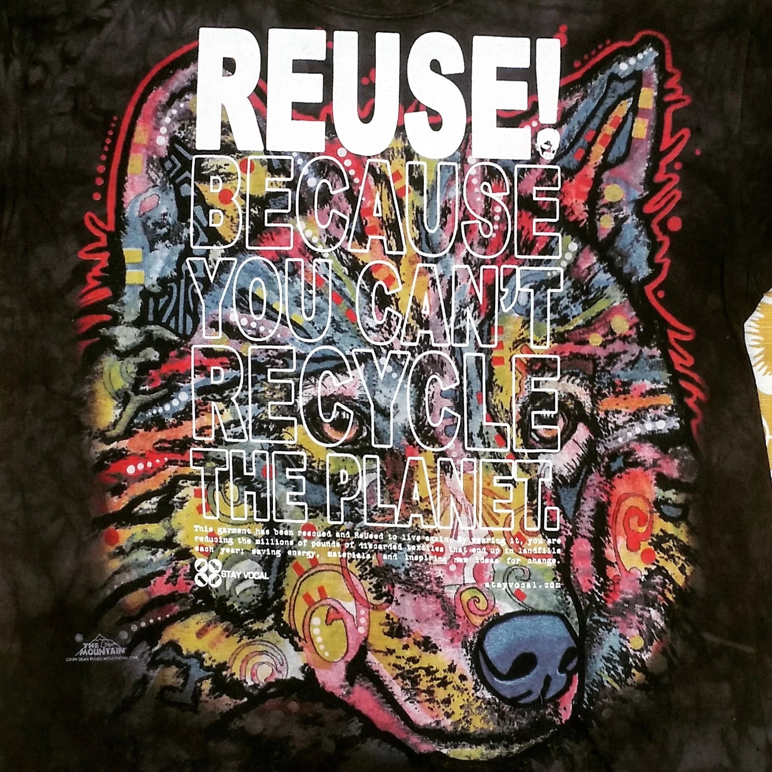 One of a Kind (Men's L) REUSE! Colorful Wolf T-Shirt