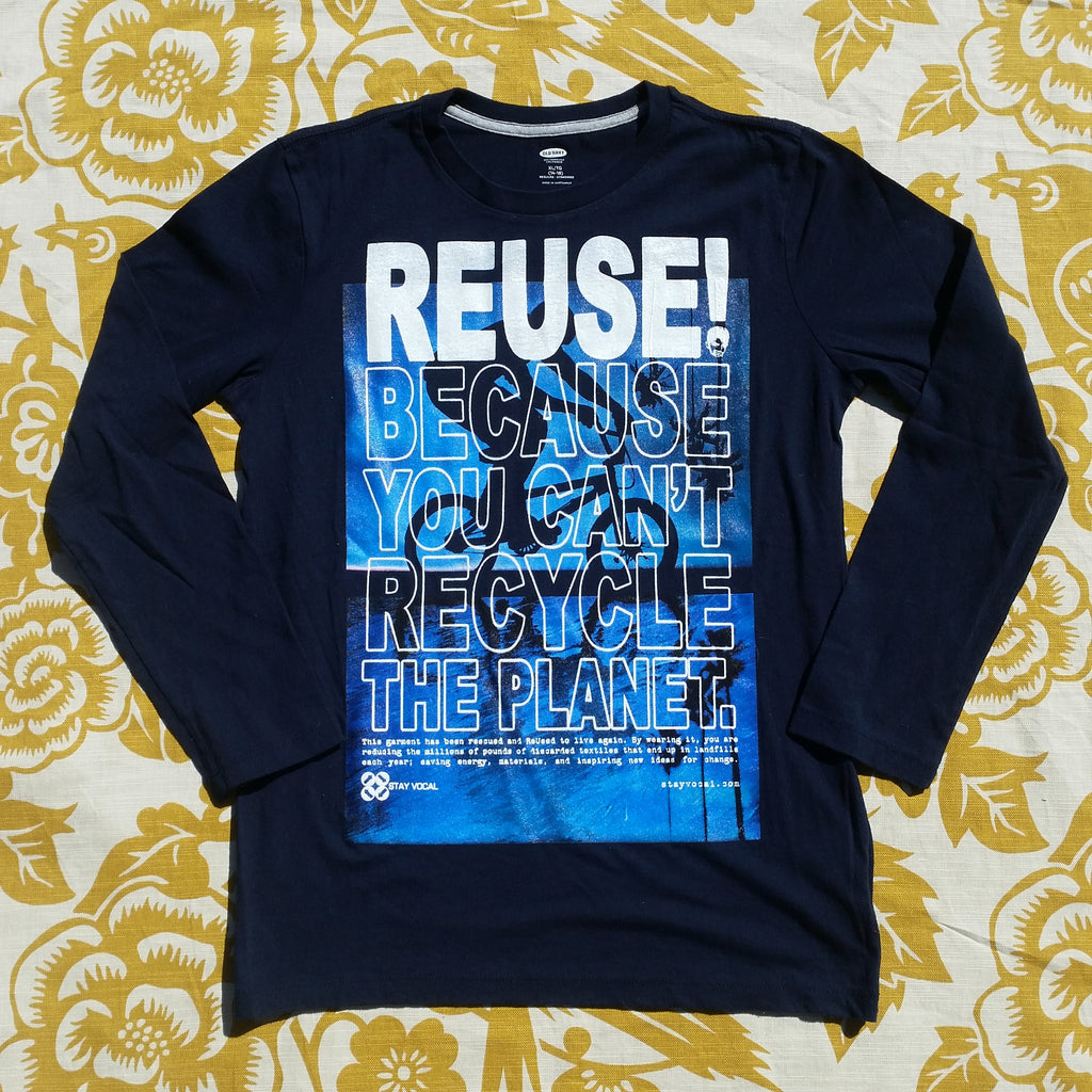 One of a Kind (Kids XL) REUSE! Blue BMXer Long Sleeve T-Shirt