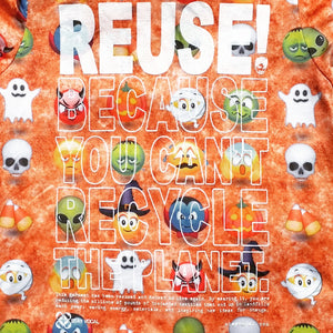 One of a Kind (Women's L) REUSE! Happy Emoji Halloween T-Shirt