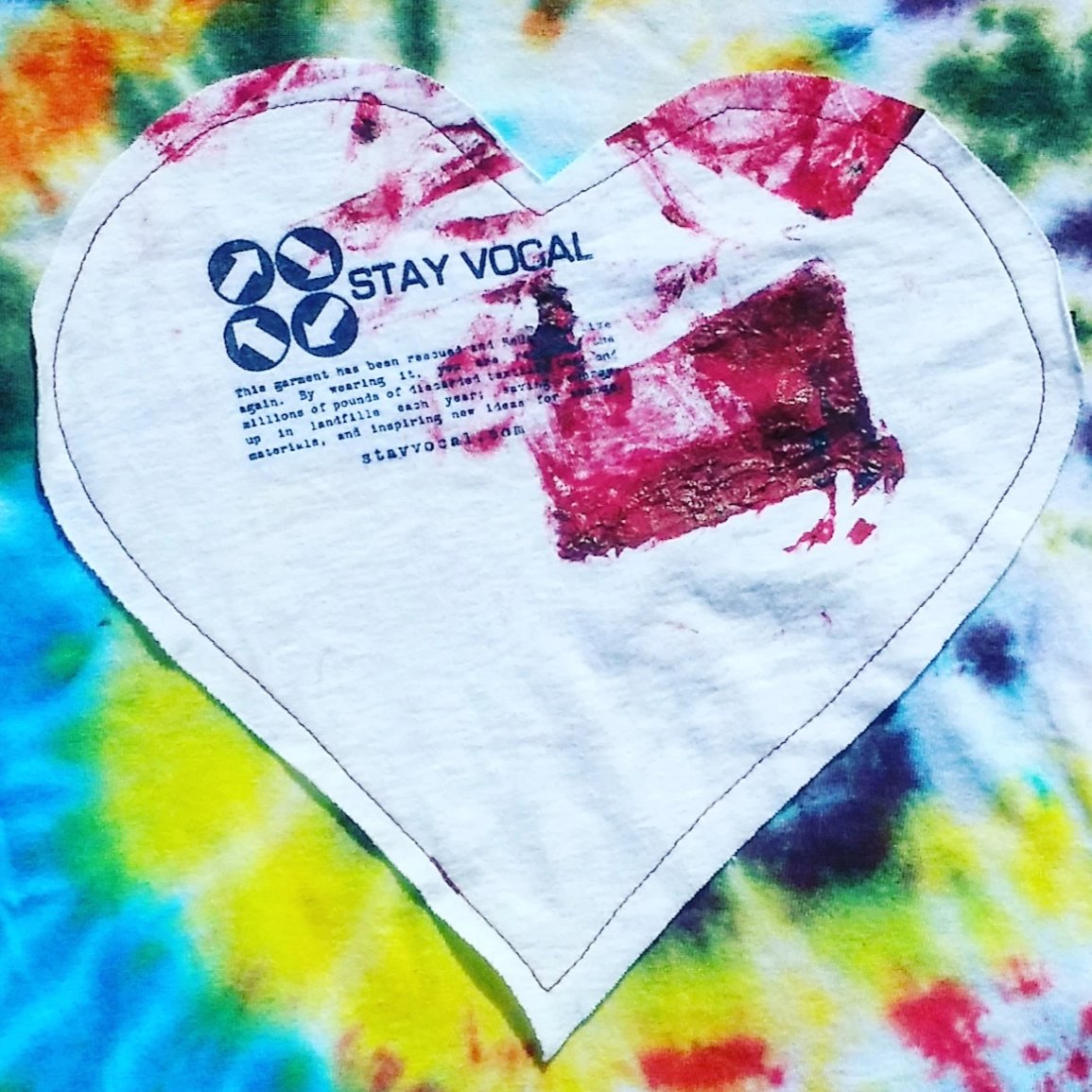 One of a Kind (Youth L) Heart Patch Tie Dye Smudge T-Shirt