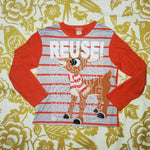 One of a Kind (Kid's L) REUSE! Special Nose Reindeer Long Sleeve T-Shirt