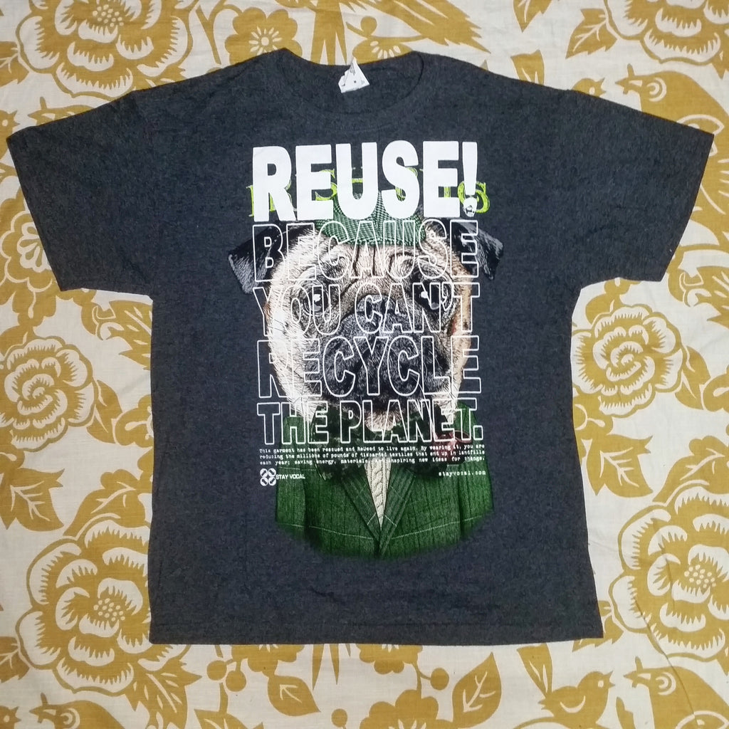 One of a Kind (Men's M) REUSE! Irish Pug T-Shirt