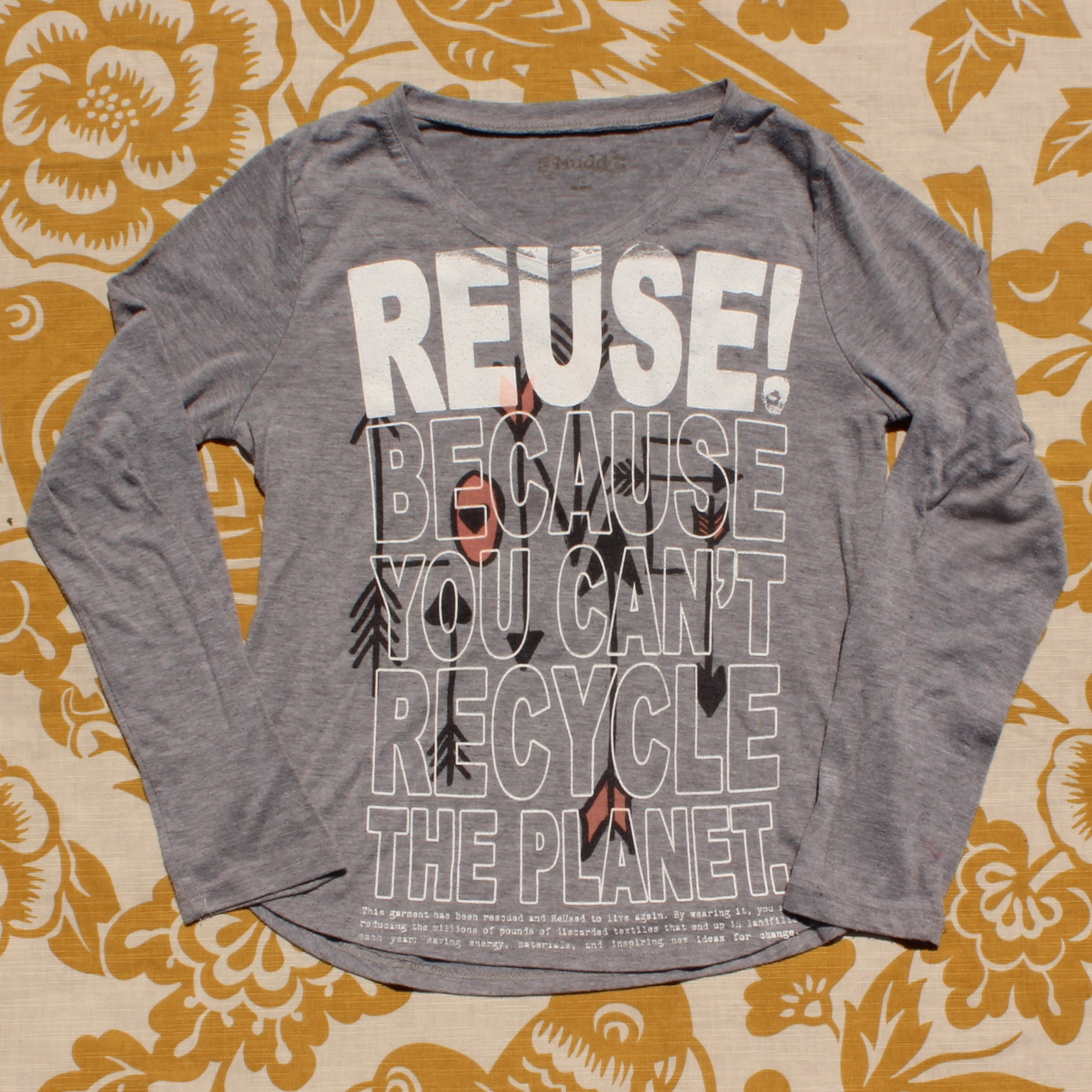 One of a Kind (Girl's XS) REUSE! Love Arrows Long Sleeve T-Shirt