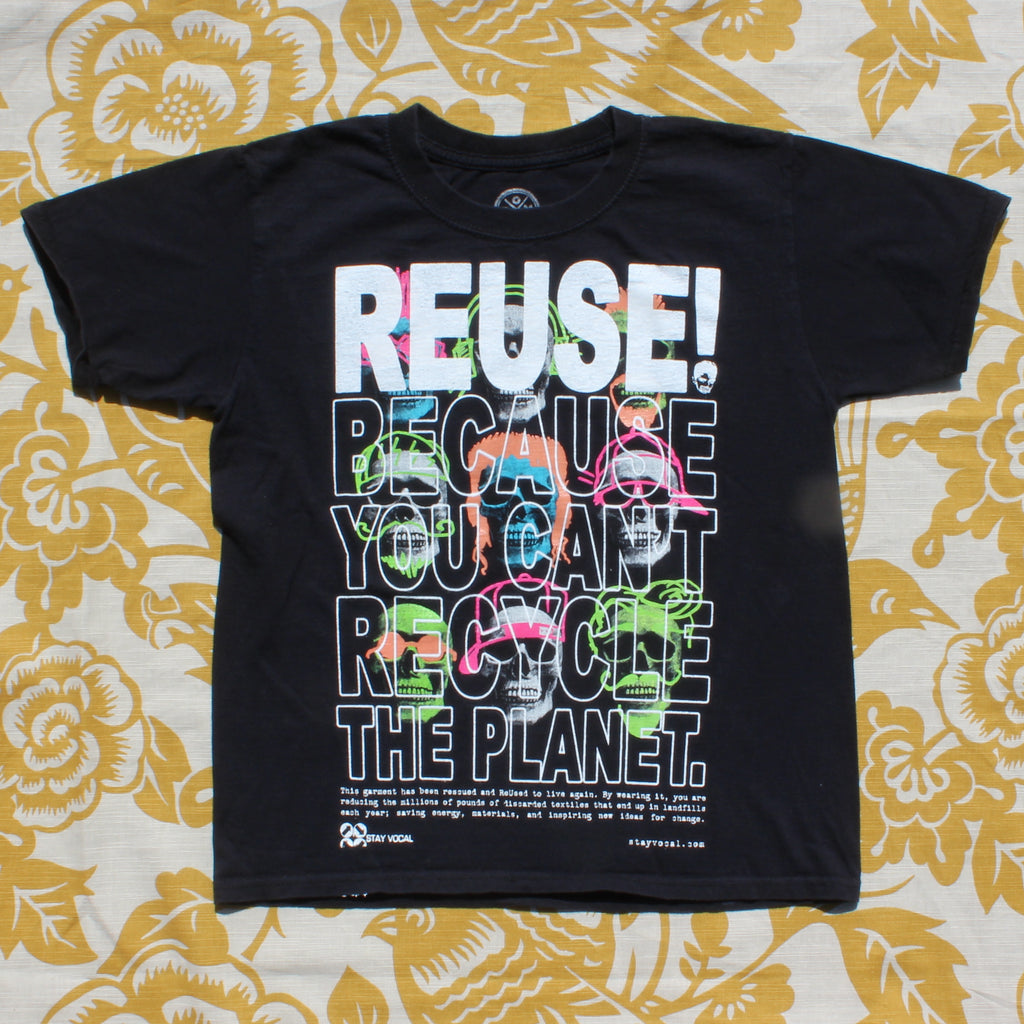 One of a Kind (Kid's L) REUSE! Skull Rockers T-Shirt