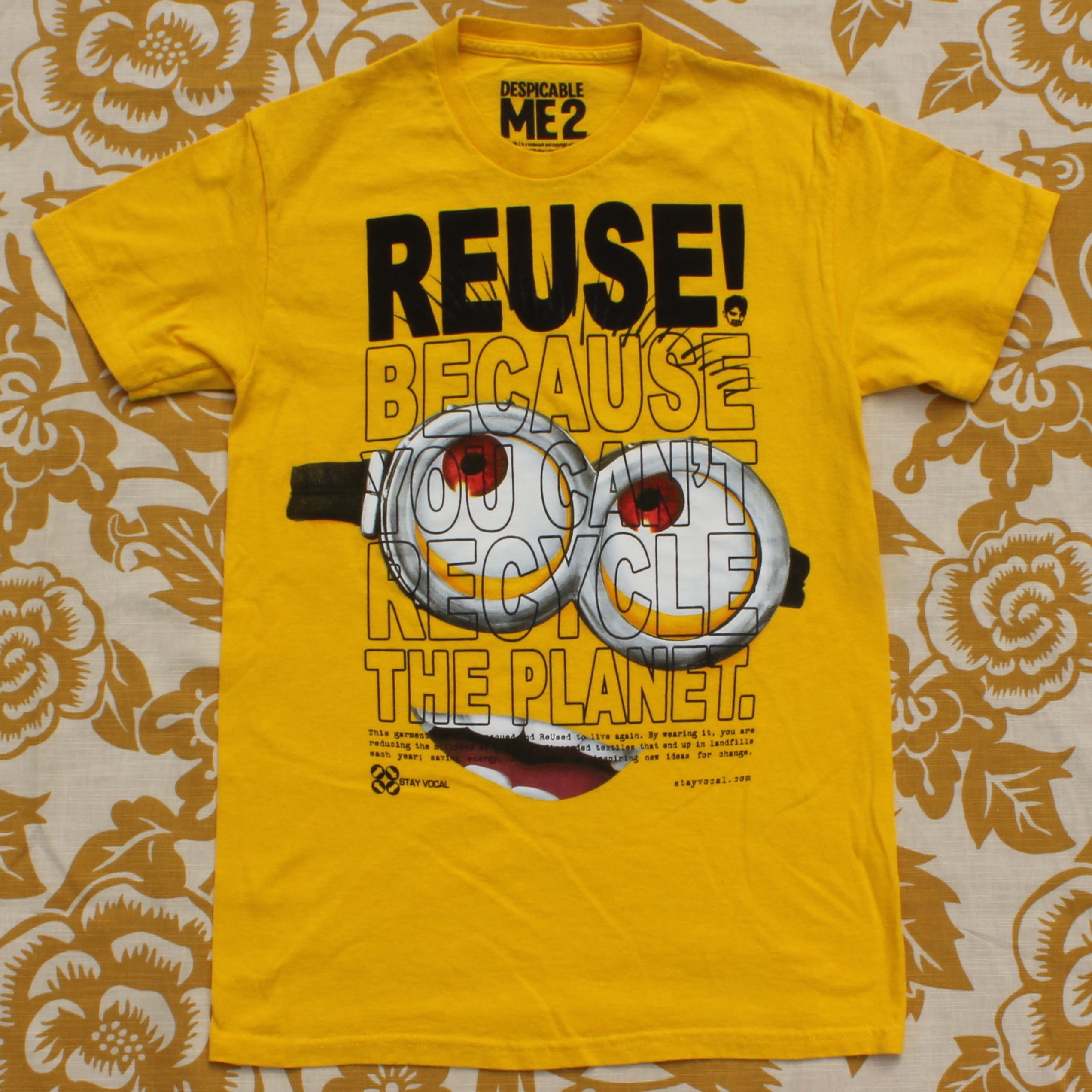 One of a Kind (Men's S) REUSE! Yellow Guy Looking Up T-Shirt