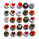 Set of 3 Handmade Heart Lapel Pins