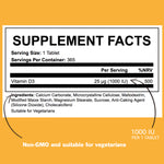 Vitamin D3 1000IU x 365 Tablets - ICON Nutrition
