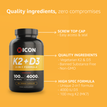 Vitamin K2 & D3 (180 Serv.) - ICON Nutrition
