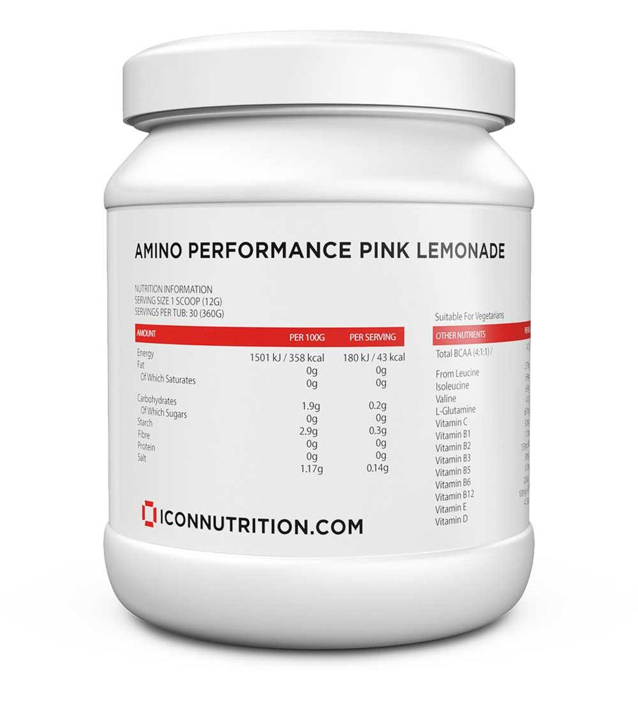 Amino Performance (30 Serv.) 3 In 1 Formula (BCAA, GLUTAMINE, VITAMIN & ELECTROLYTES) - ICON Nutrition