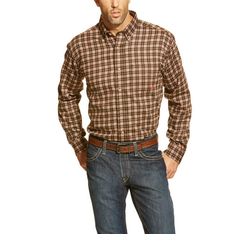 FR Plaid Coffee Bean Work Shirt - BIG & TALL