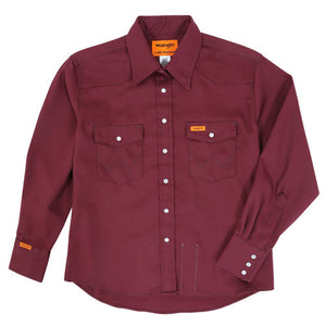 FR Womens Western Snap Front Shirt Burgundy