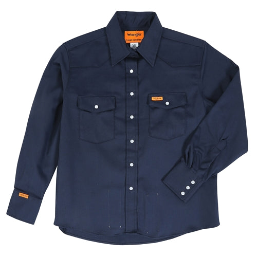 Women's FR Wrangler Navy Snap Work Shirt