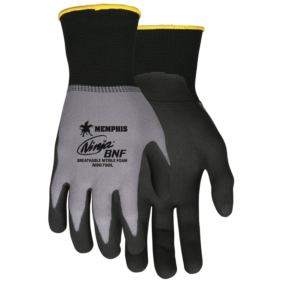 Ninja® BNF Work Gloves 15 Gauge Nylon / Spandex Shell NFT® Coated Palm and Fingertips