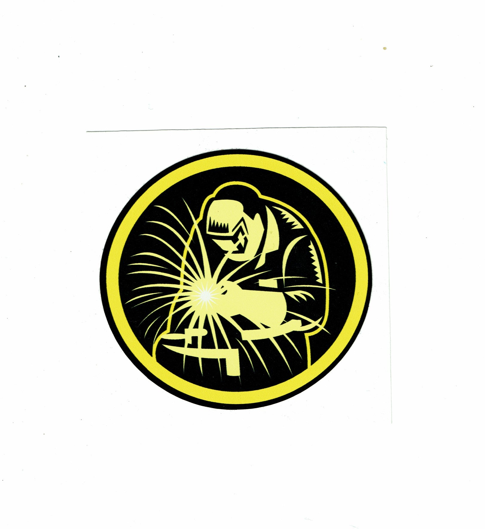 Black and Yellow Round Welder Sticker